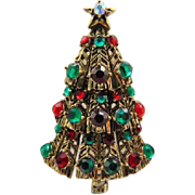 10% OFF Book Piece, Hollycraft Christmas Tree Pin Brooch, Ruby and Emerald Rhinestones