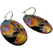 40% OFF Litt enamel copper Earrings hand painted, signed piece