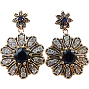 25% OFF Sapphire diamond paste 9k 9ct gold & sterling silver drop  earrings