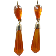 Old Russian 875 Silver Baltic Amber Earrings