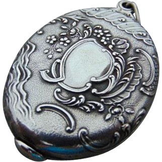 French Art Nouveau 800-900 Silver Mirror Slide Pendant
