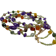 25% OFF 14K Multi Gemstone Two Strand Necklace - 17 in + 2 in extender