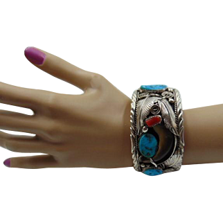 20% OFF Navajo  Turquoise & Coral Silver Bracelet M. Thomas Jr