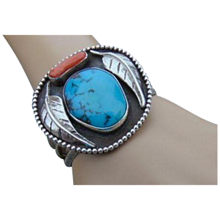 Native American Navajo Sterling Turquoise Coral  Cuff Bracelet