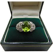 30% OFF Stunning 14K White Gold Peridot Diamond Ring