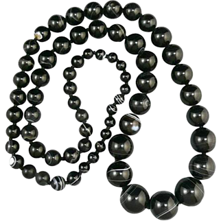 Antique Banded Agate Long Necklace