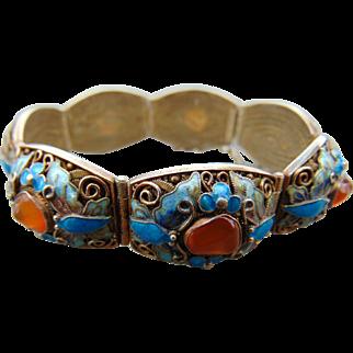 45% OFF Chinese Export Enamel Amber Bracelet
