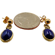 14K Yellow Gold Lapis Lazuli Gemstone Earrings