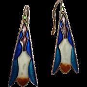 Sterling Enamel Art Nouveau Style Earrings