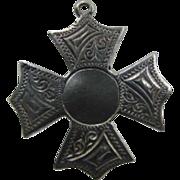 1899 Antique Victorian Silver Engraved Cross Pendant