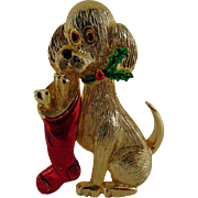 15% OFF Designer New View Christmas Dog With Stocking brooch