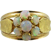 Heavy 18k Opal Floral Leaf Ring Size 8