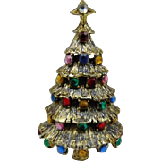 20% OFF Hollycraft signed Christmas tree brooch Antiqued gold tone multi color rhinestones