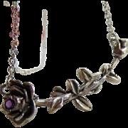 Vintage Sterling Amethyst roses necklace