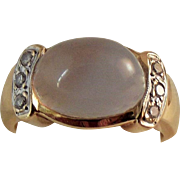 14K Moonstone Diamond Ring