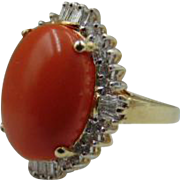 Natural Coral Diamond 14k Ring