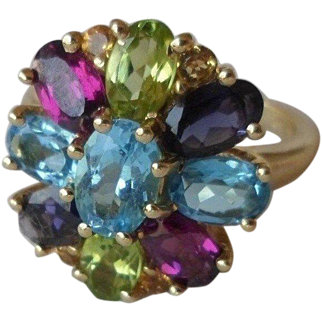 14K Multi Gemstone Cluster Ring