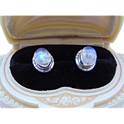Rainbow Moonstone & Solid .925 Sterling Silver Stud Earrings