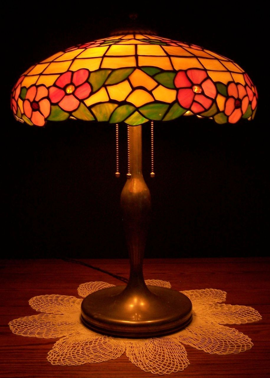 Antique Unique Leaded Glass Table Lamp Sold On Ruby Lane