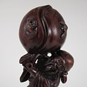 Vintage Chinese Carved Wood Shou Lao Carrying Giant Peach With Bats