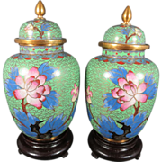 Vintage Pair Chinese Cloisonne Lidded Jars With Stand ca. 1970