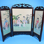 Vintage Chinese Silk Painted Table Screen