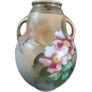 Antique Nippon Morimura Porcelain Floral Handled Bulbous Vase