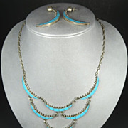 Zuni Vintage Natural Turquoise & Silver Quarter Moon Necklace and Earring Set