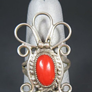 Vintage Native American Red Coral & Sterling Ring Size 6.5
