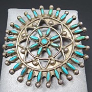 Early Zuni Natural Turquoise & Silver Needlepoint Pin