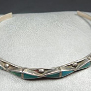 Early Zuni Channel Inlay Turquoise & Silver Petite Bracelet