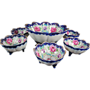 Nippon Hand Painted Floral Porcelain Nut Set