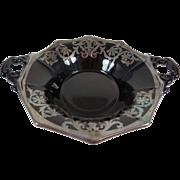 Cambridge Glass Ebony Silver Overlay Decagon Bon-Bon Bowl