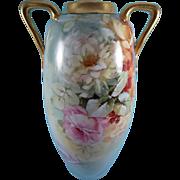 LARGE Austrian Porcelain Handled Rose Vase ca 1900