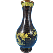 "Vintage Chinese Brown Cloisonne Dragon Flaming Pearl Vase 8"""