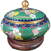 Vintage Chinese Cloisonne Cherry Blossom Covered Bowl
