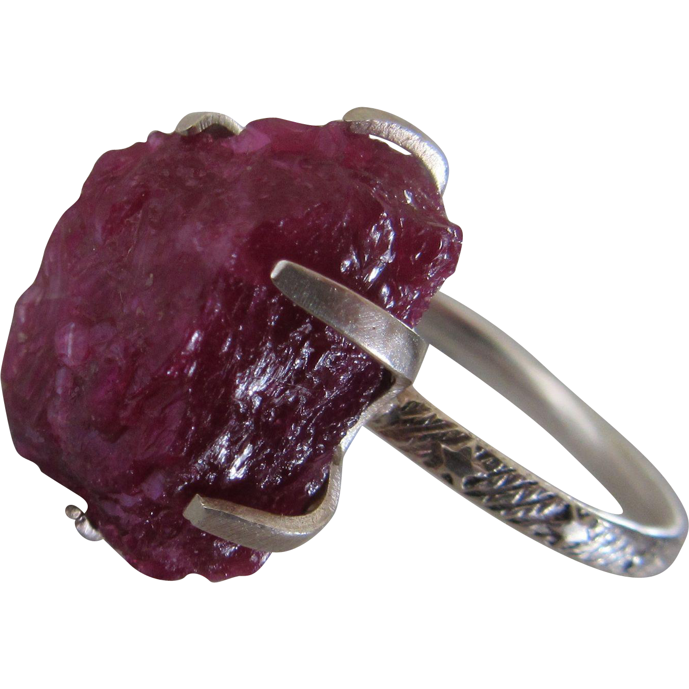 Raw uncut ruby ring silver rough ruby prong set ring from bgezunt on