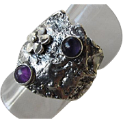 Reticulated Silver Amethyst Ring - Unique designed ring - Ready to Ship Size 7 1/2 - Artistic jewelry