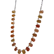 Orange Agate necklace - Delicate silver Necklace