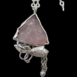 Handmade Silver Rose Quartz Pendant - Rough Stone Flower Pendant