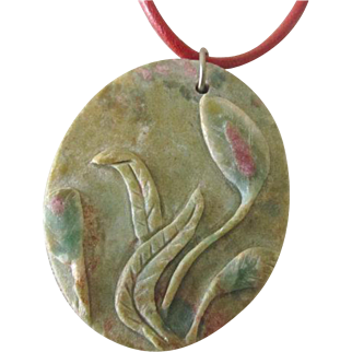 Ruby Zoisite Hand Carved Floral Pendant - Stone Flower Pendant
