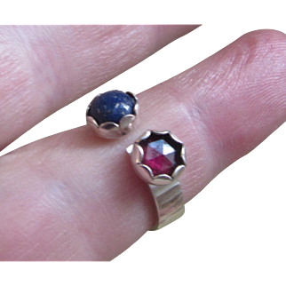 Double Stine Ring - Ruby and Lapis Silver Ring - Size 5-6 Adjustable