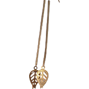 Gold Filled Earrings - Long leaves Earrings