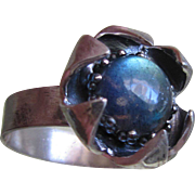 Silver Kyanite Strong color ring - Flower Set Ring - size 7 -