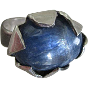 Silver Kyanite Strong color ring - Flower Set Ring - size 7