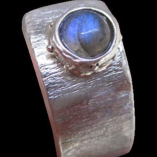 Labradorite Wide Band Ring - Adjustable Ring