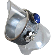 Lapis Lazuli Wide Band Ring with Flower - Adjustable Open Band Ring