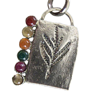 Multi stone Silver Pendant - Handmade jewelry - Contemporary jewelry