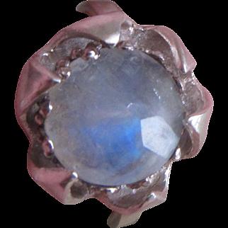 Rainbow Moonstone ring - Boho Handmade Silver Ring