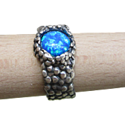 Silver Opal Ring - Textured band Ring - Mens Ring - for Boyfriend Husband
